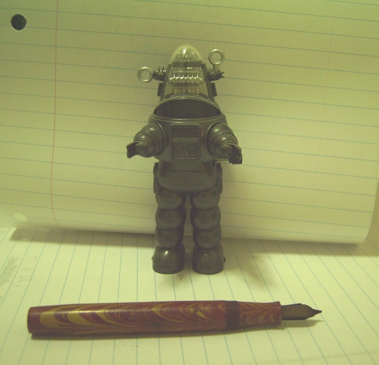 Robby the Robot and a fountain pen
